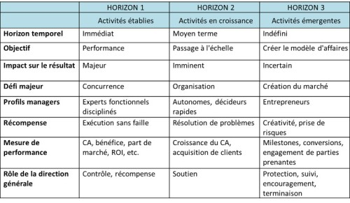 IBM Emerging business horizon table