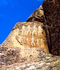 Pétroglyphes de la réserve de Gobustan, Azerbaïdjan datant de 10 000 ans av. J.-C (Source: Wikipedia)